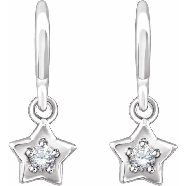14K White 3 mm Round April Youth Star Birthstone Earrings