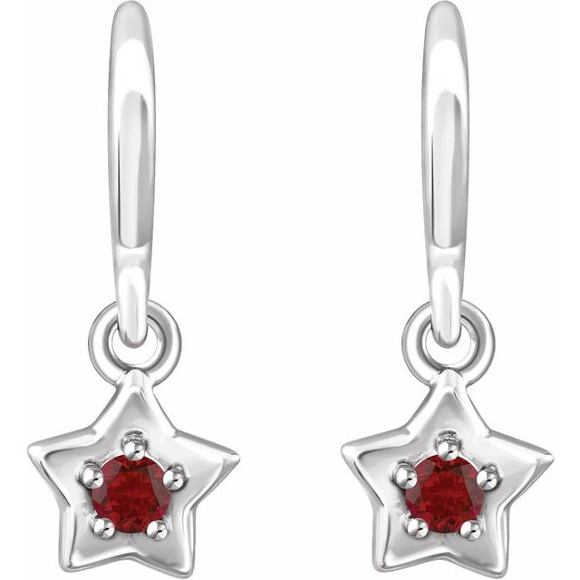 14K White 3 mm Round January Youth Star Birthstone Earrings