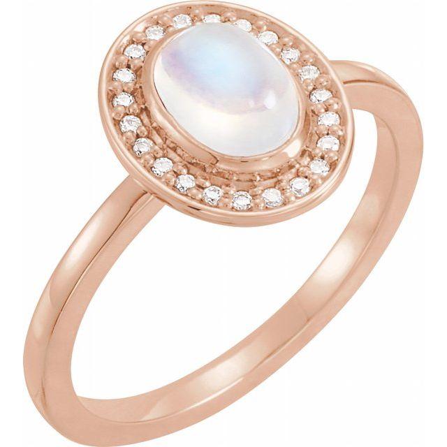14K Rose Rainbow Moonstone & .08 CTW Diamond Halo-Style Ring
