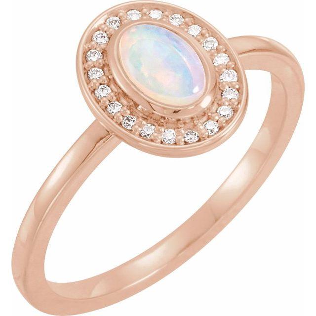 14K Rose Opal & .08 CTW Diamond Halo-Style Ring