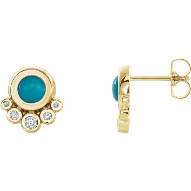 14K Yellow Turquoise & 1/8 CTW Diamond Earrings