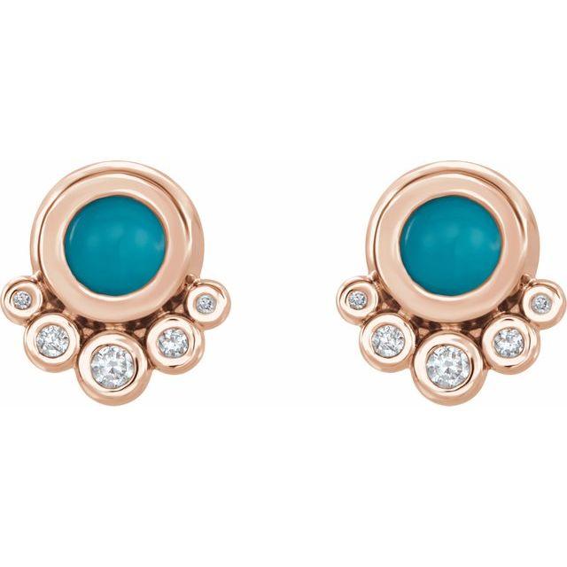 14K Rose Turquoise & 1/8 CTW Diamond Earrings