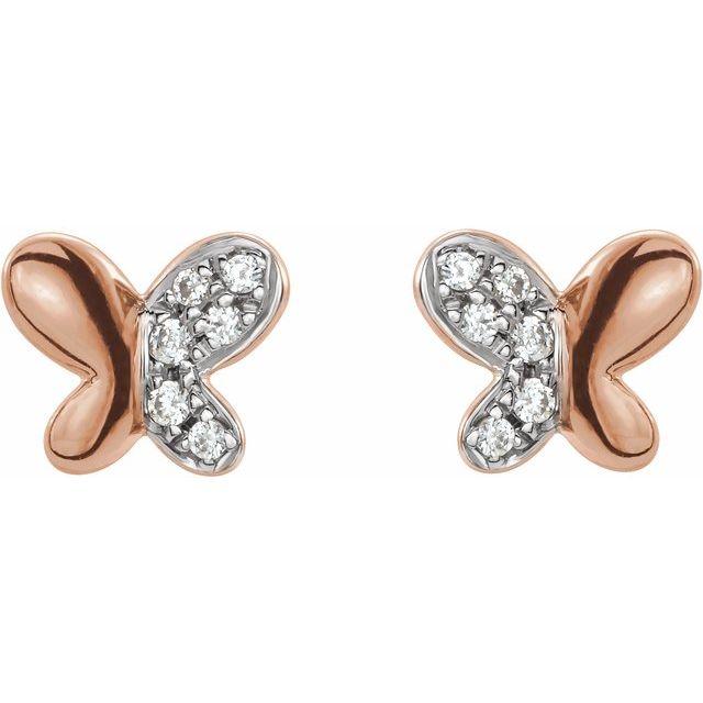 14K Rose .04 CTW Diamond Butterfly Earrings