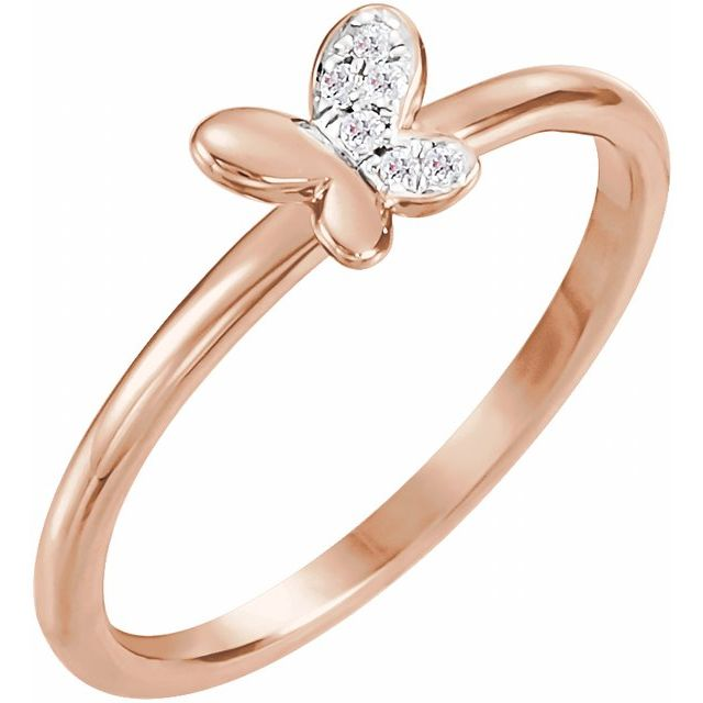 14K Rose .02 CTW Diamond Butterfly Youth Ring