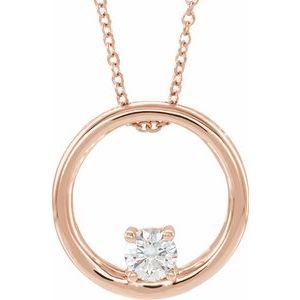 "14K Rose 5/8 CT Lab-Grown Diamond Circle 16-18"" Necklace"