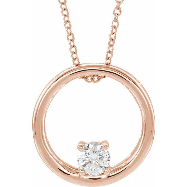 14K Rose 5/8 CT Lab-Grown Diamond Circle 16-18