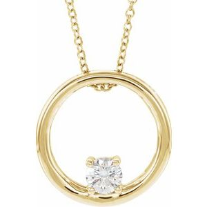 "14K Yellow 5/8 CT Lab-Grown Diamond Circle 16-18"" Necklace"
