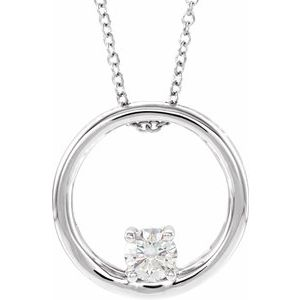 "14K White 5/8 CT Lab-Grown Diamond Circle 16-18"" Necklace"