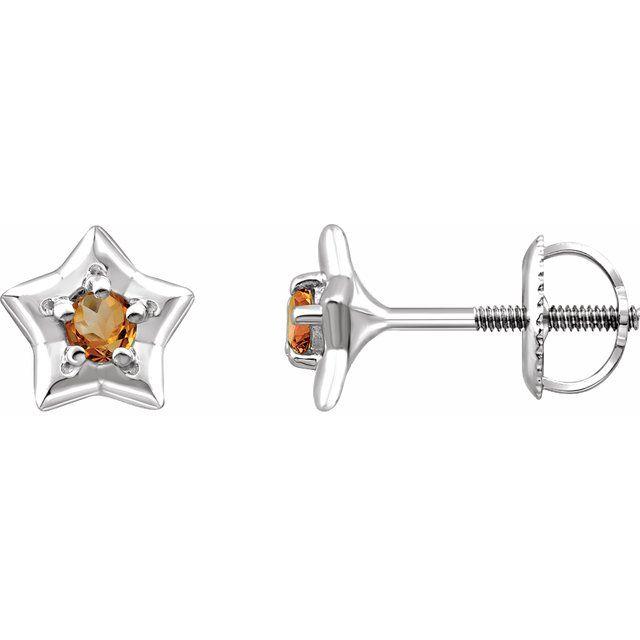 14K White 3 mm Round November Youth Star Birthstone Earrings