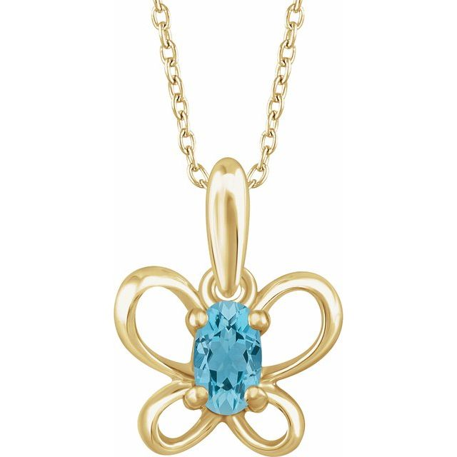 14K Yellow March Youth Butterfly Birthstone 15