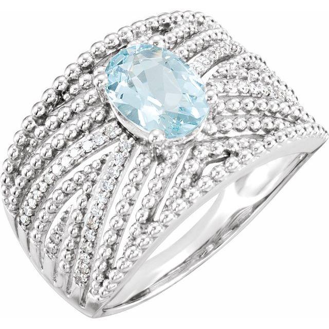 Sterling Silver Aquamarine & 1/6 CTW Diamond Ring