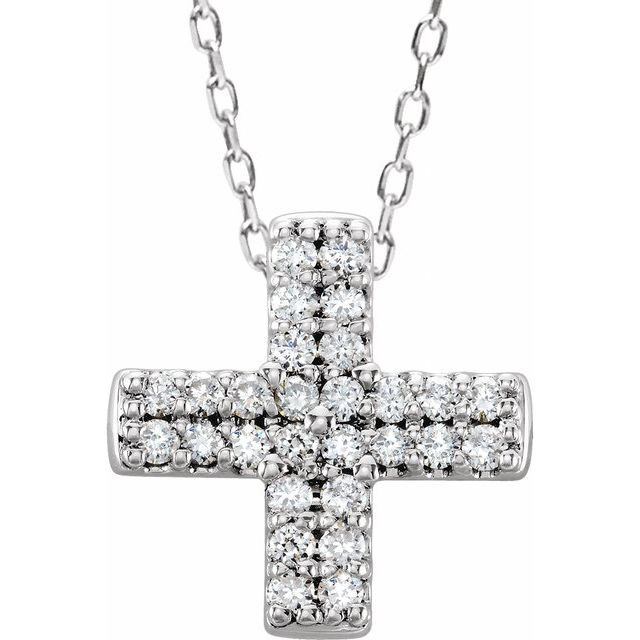 14K White .07 CTW Diamond Cross Necklace