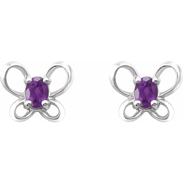 14K White 4x3 mm Oval February Youth Butterfly Birthstone Earrings