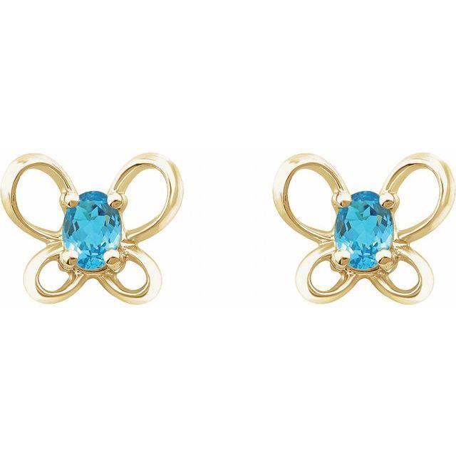 14K Yellow 4x3 mm Oval March Youth Butterfly Birthstone Earrings
