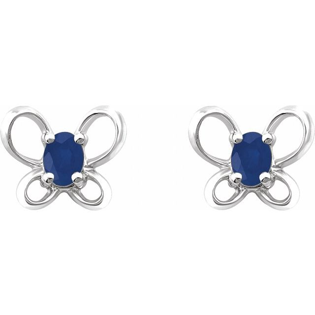 14K White 4x3 mm Oval September Youth Butterfly Birthstone Earrings