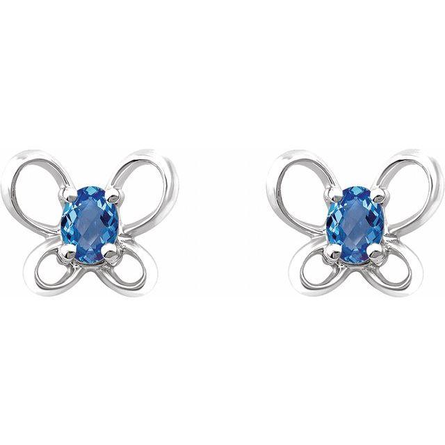 14K White 4x3 mm Oval December Youth Butterfly Birthstone Earrings