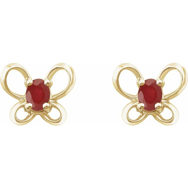 14K Yellow 4x3 mm Oval July Youth Butterfly Birthstone Earrings