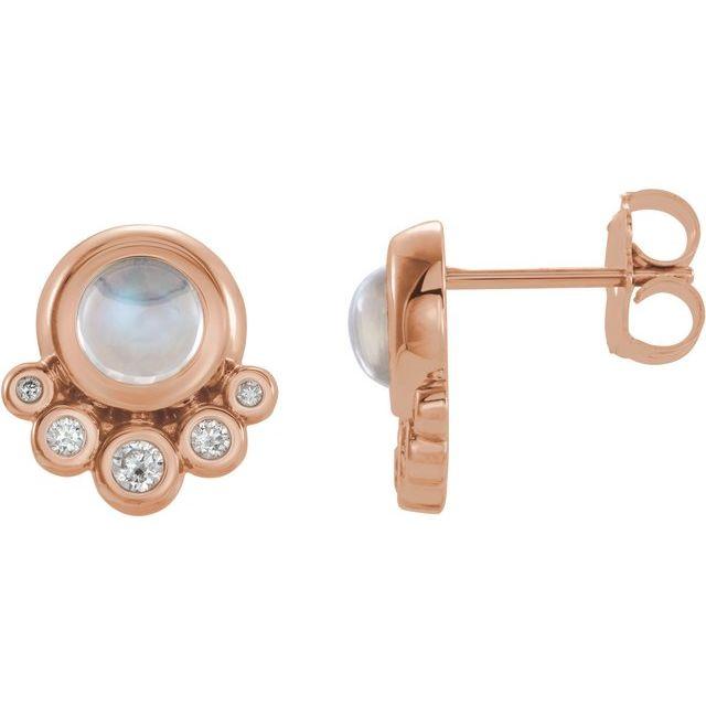 14K Rose Moonstone & 1/8 CTW Diamond Earrings