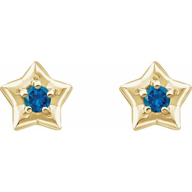 14K Yellow 3 mm Round December Youth Star Birthstone Earrings