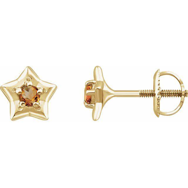 14K Yellow 3 mm Round November Youth Star Birthstone Earrings