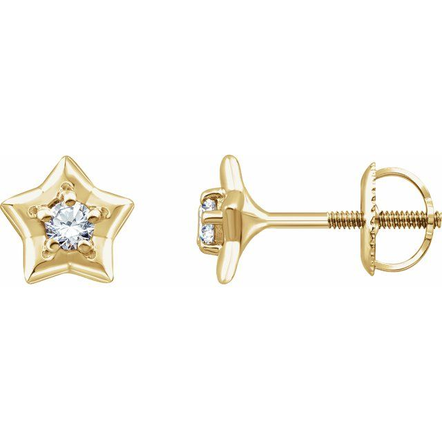 14K Yellow 3 mm Round April Youth Star Birthstone Earrings