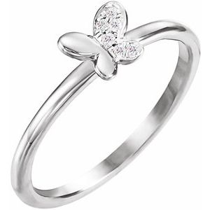 14K White .02 CTW Diamond Butterfly Youth Ring