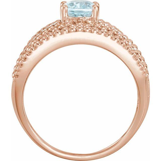 14K Rose Aquamarine & 1/6 CTW Diamond Ring