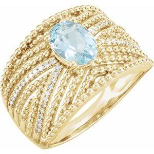 14K Yellow Aquamarine & 1/6 CTW Diamond Ring