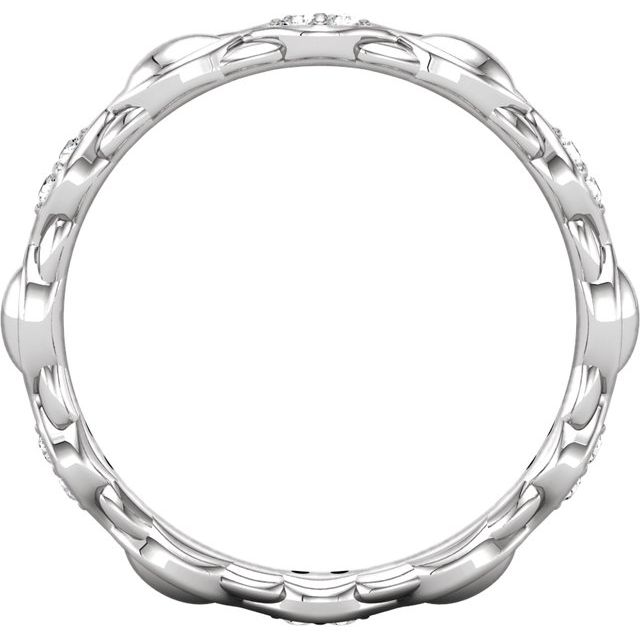 14K White 1/8 CTW Diamond Sculptural-Inspired Eternity Band Size 5