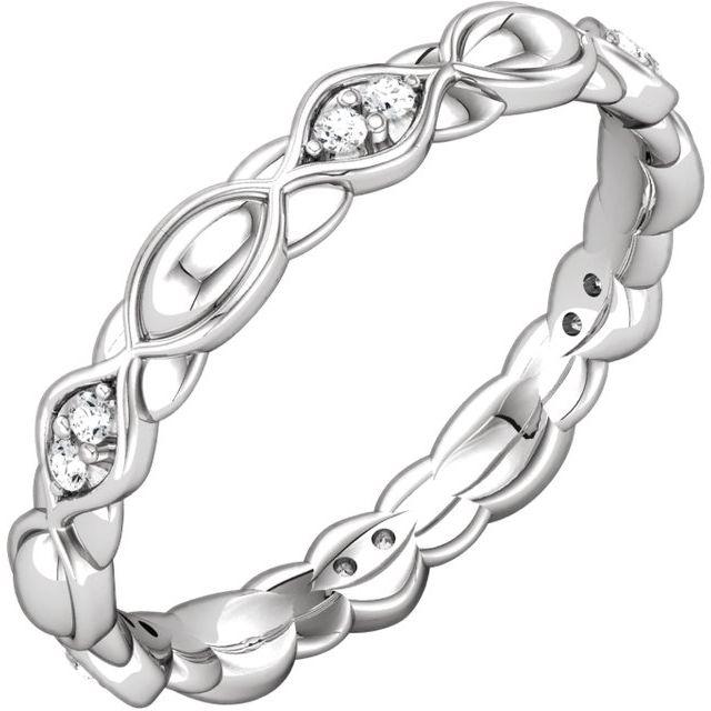 14K White .08 CTW Diamond Sculptural-Inspired Eternity Band Size 5