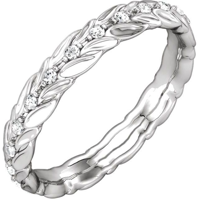 14K White 1/5 CTW Diamond Eternity Band Size 7