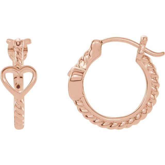 14K Rose Pierced Heart Rope Hoop Earrings