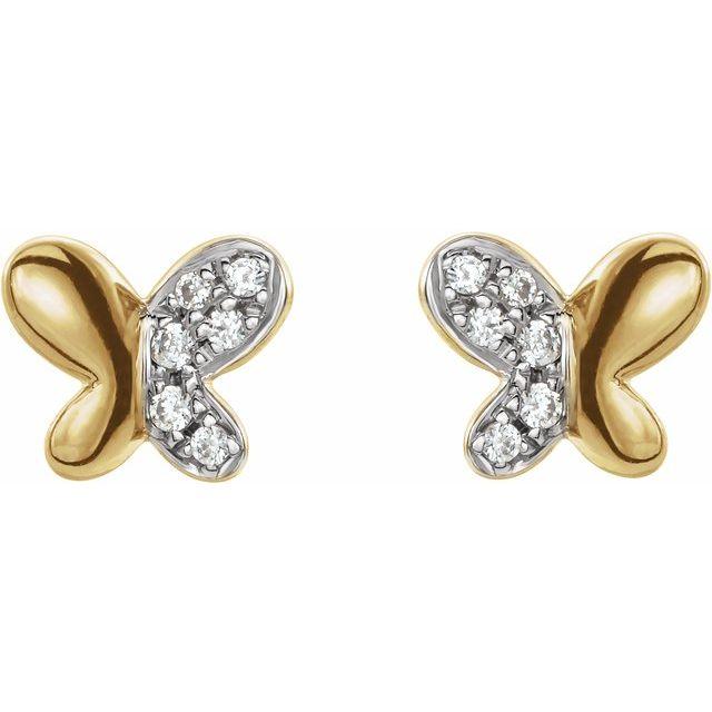 14K Yellow .04 CTW Diamond Butterfly Earrings