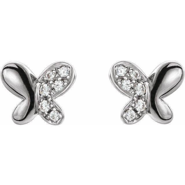 14K White .04 CTW Diamond Butterfly Earrings