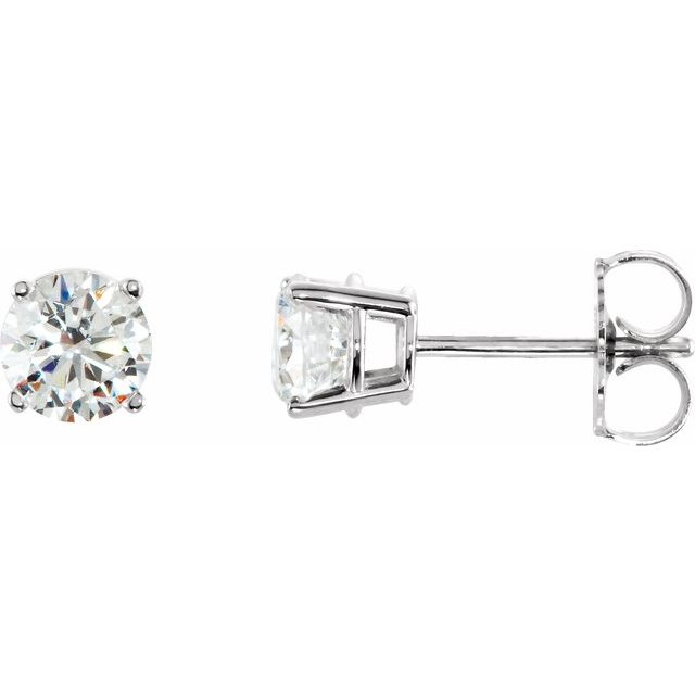 Sterling Silver 5 mm Round Cubic Zirconia Earrings