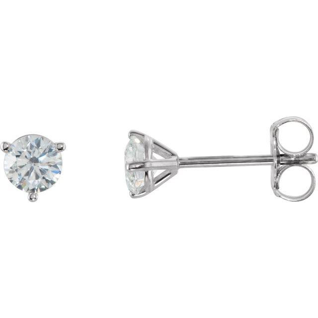 14K White 1/2 CTW Diamond Stud Earrings