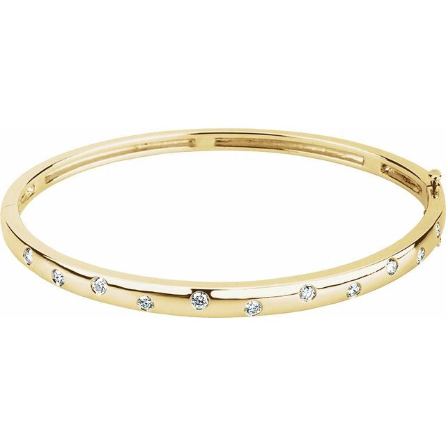 14K Yellow 1/2 CTW Diamond Bangle Bracelet