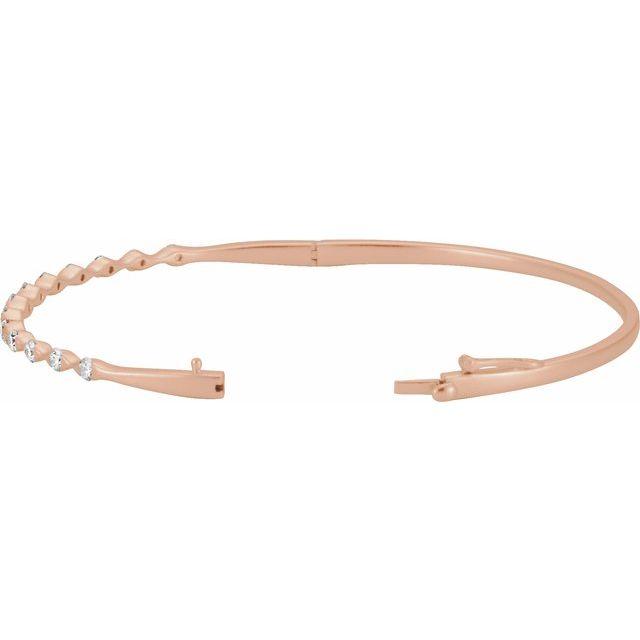 14K Rose 1 CTW Diamond Bangle Bracelet