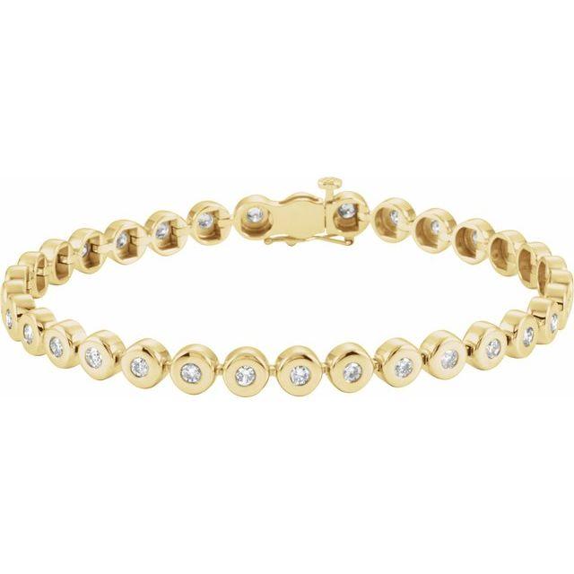 """14K Yellow 2 CTW Diamond Bezel-Set Line 7"""" Bracelet"""