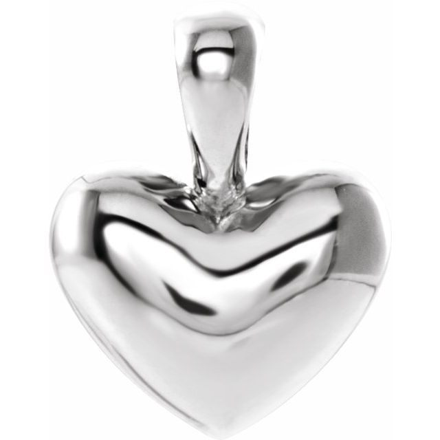 14K White Heart Youth Pendant