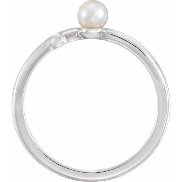 14K White Freshwater Cultured Pearl Sideways Cross Ring