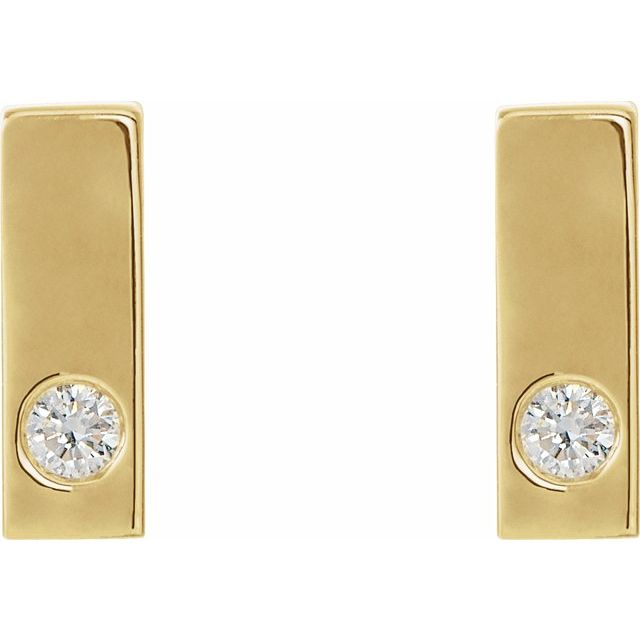14K Yellow .06 CTW Diamond Bar Earrings