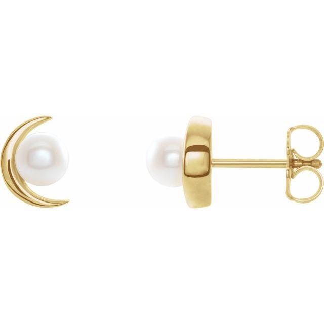 14K Yellow Freshwater Cultured Pearl Earrings