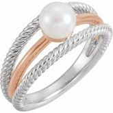Pearl Negative Space Rope Ring