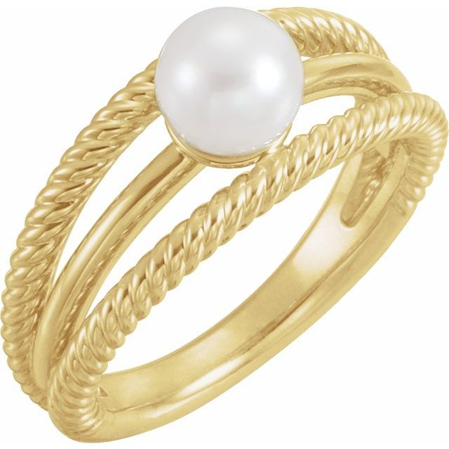 14K Yellow Freshwater Cultured Pearl Ring