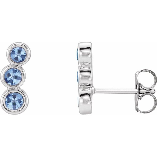 14K White Aquamarine Ear Climbers
