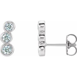 14K White 1/2 CTW Diamond Ear Climbers