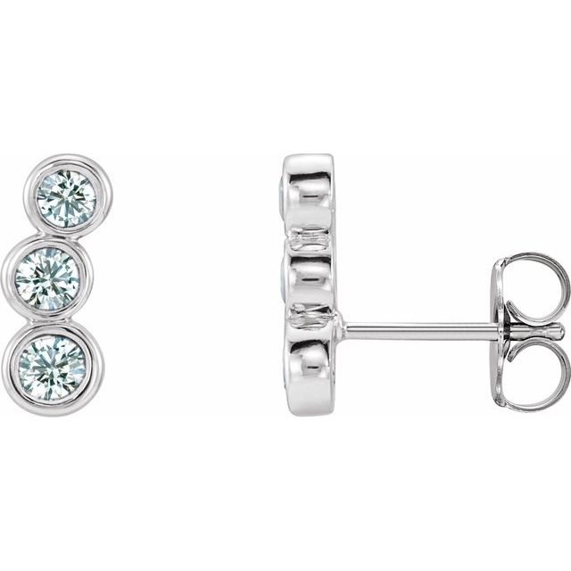 14K White 1/2 CTW Diamond Ear Climbers