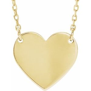 "18K Yellow Gold-Plated Sterling Silver 18x16.4 mm Heart 16-18"" Necklace"