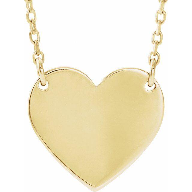 14K Yellow Engravable 12x11 mm  Heart 16-18
